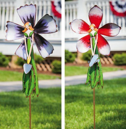 """Flower and Fairy Garden Wind Spinners - 2 assorted by Accent Your Life. $29.99. Approximate dimensions are 10"""" x 2"""" x 37"""". Made of metal. Set of 2. Welcome the Spring season and help Mother Nature with some early metal bloomers! These garden stakes will enhance your flower beds with colorful pops of decoration."""