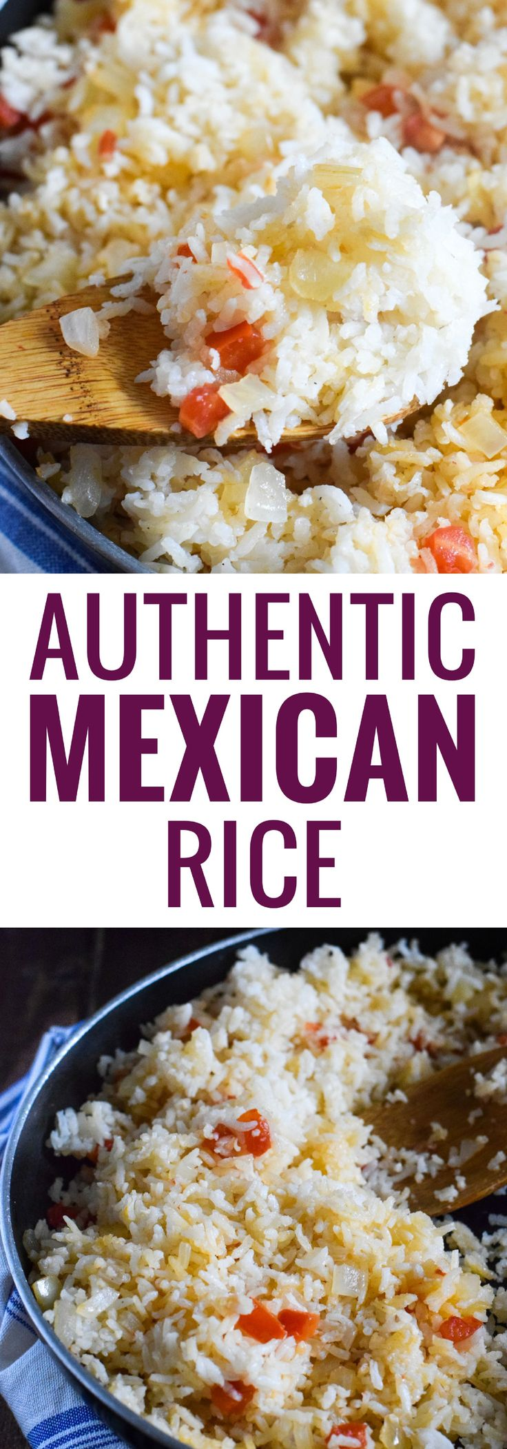 Made with simple ingredients like chopped tomatoes, onions and garlic, my Mom's Authentic Mexican Rice is the perfect side dish for any meal. Vegetarian, Gluten Free, Vegan and Dairy Free.