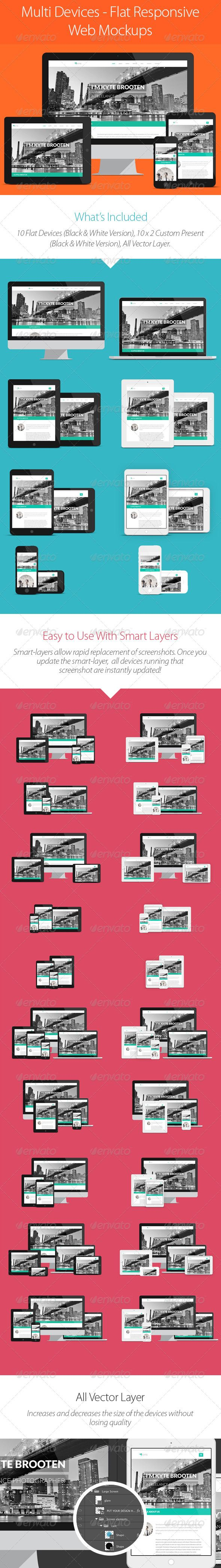 Multi Devices  Flat Responsive Web Mockups — Photoshop PSD #device mockup psd #vector imac • Available here → https://graphicriver.net/item/multi-devices-flat-responsive-web-mockups/6158200?ref=pxcr