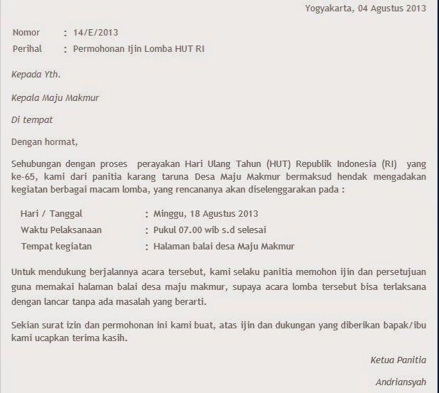 Contoh Surat Pengajuan Permohonan Surat Proposal