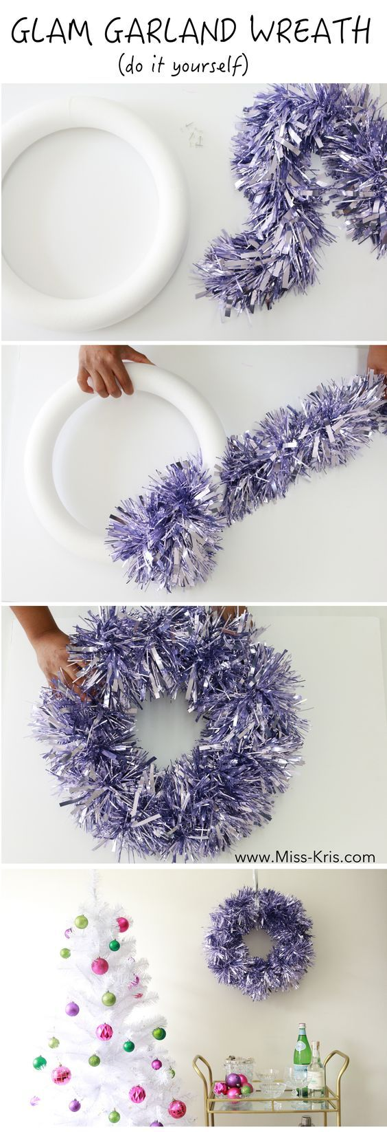 DIY Christmas Wreath by Miss Kris. Full Post here -> http://miss-kris.com/2015/12/glamgarlandwreath/: