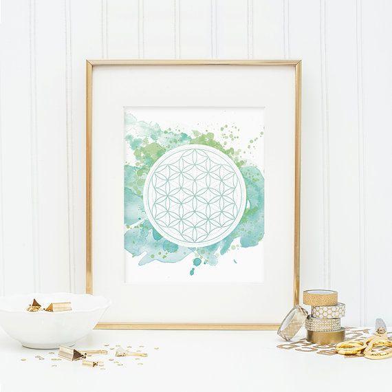 Heilige Geometrie - bloem van het leven - aquarel