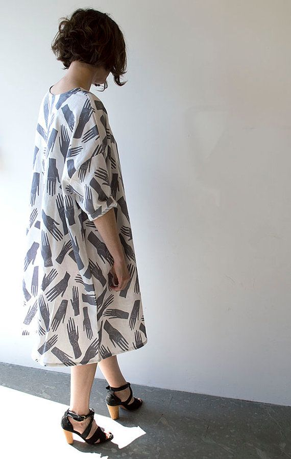 Grey Hands Palmistry Print Linen Dress