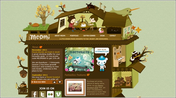 Kawaii web site design: www.meomi.com