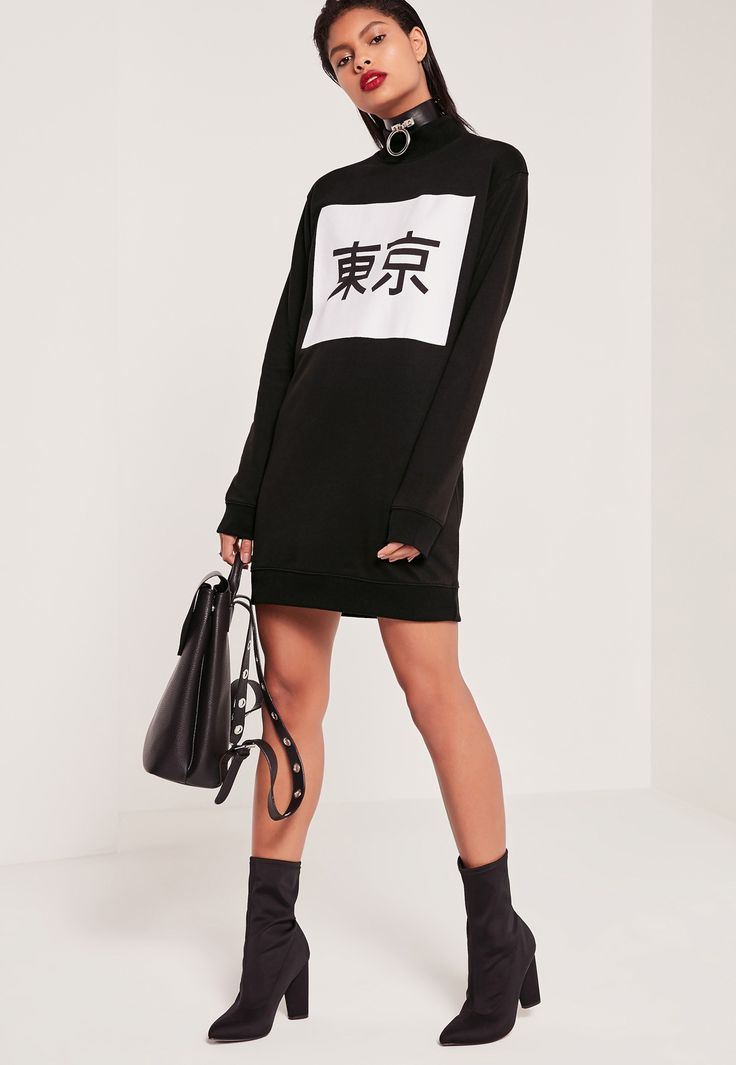 Missguided - Black Tokyo Graphic Sweater Dress (Size 4)