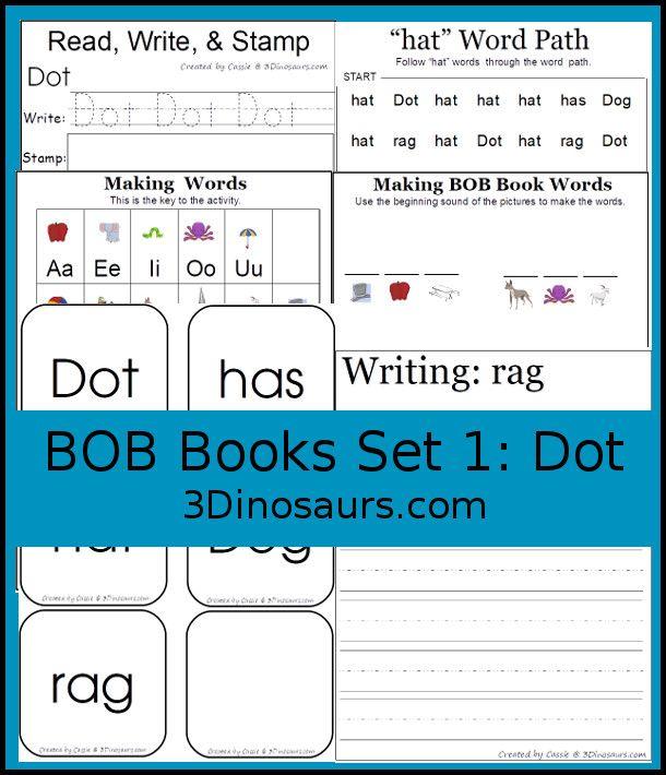 Early Reading Printables Bob Books Printables Set 1 Book 3 Dot Bob Books Reading Printables Bob Books Set 1