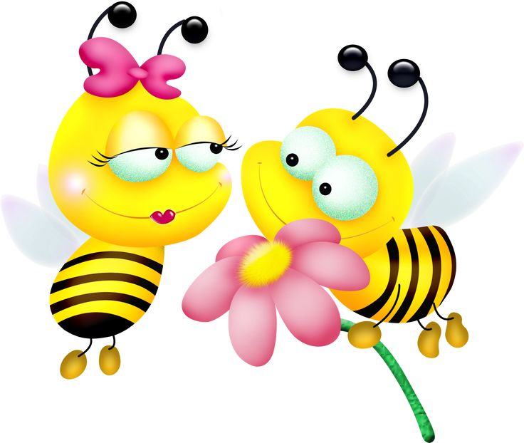 Yellow bumble bees boy and girl clip art
