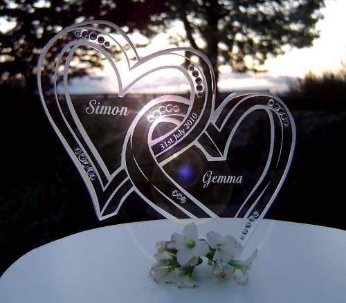 Personalised Engraved Wedding Cake Toppers Monogram