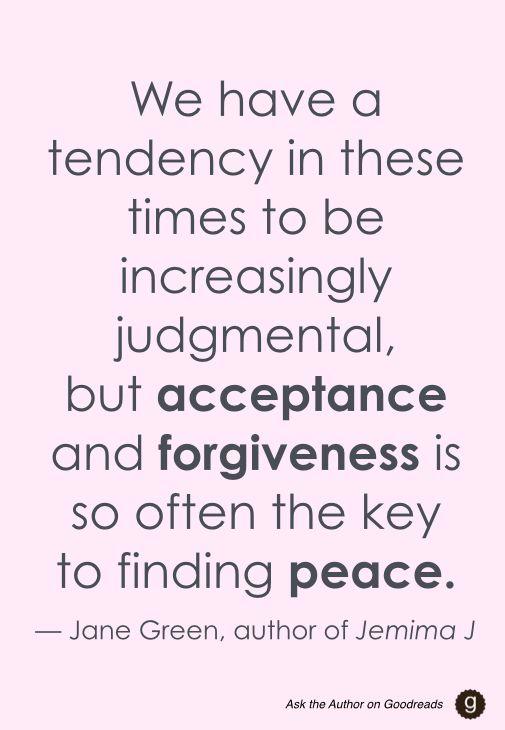 Jane Green #AskTheAuthor #forgiveness