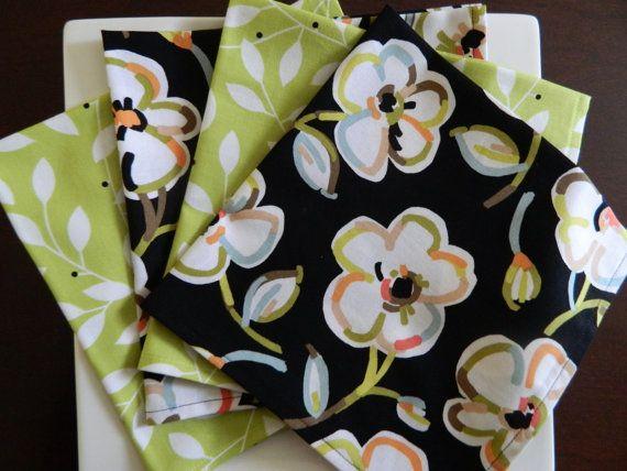 Black and Lime Green Dinner Napkins. Set of 4 by BabyGigglesOnline