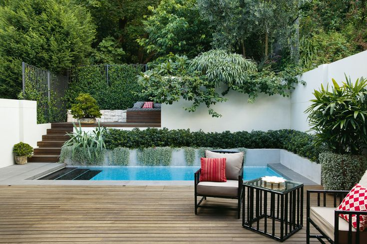 ALBOO | FOXY | ARMCHAIRS AND TALL SIDE TABLE | CUSTOM POWDERCOAT AND UPHOLSTERY | Outdoor space designed by the talented team at GoodManors Pools + Gardens Sydney