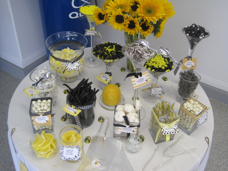 candy bar for a bumble bee themed baby shower party. Black Bedroom Furniture Sets. Home Design Ideas