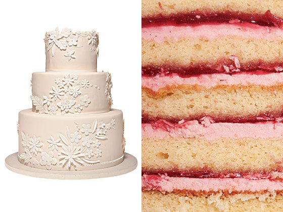 White Garden  Yellow butter cake with raspberry jam and red-berry buttercream filling