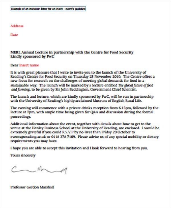 Formal Invitation Letter Sample For An Event Invitation