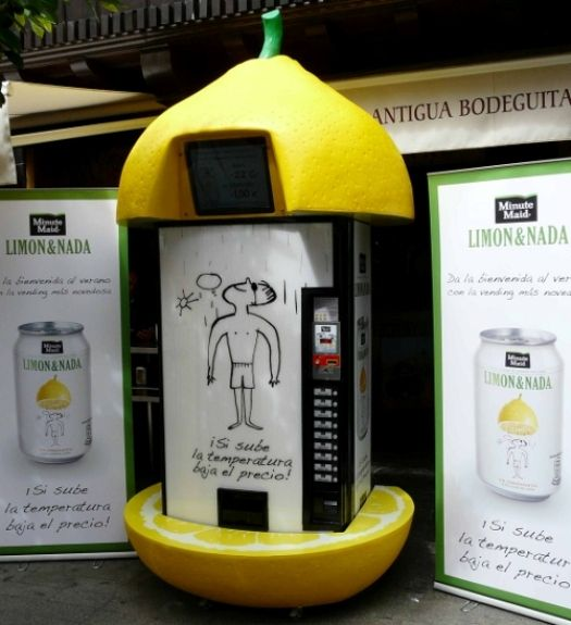 The hotter the day, the cheaper the drink.    Limon & Nada, a Spanish lemonade brand owned by Coca-cola's Minute Maid, has set up vending machines that offer discounts according to how hot the weather is.