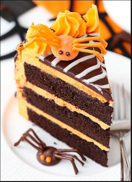 Spiderweb Chocolate Cake with Vanilla Frosting