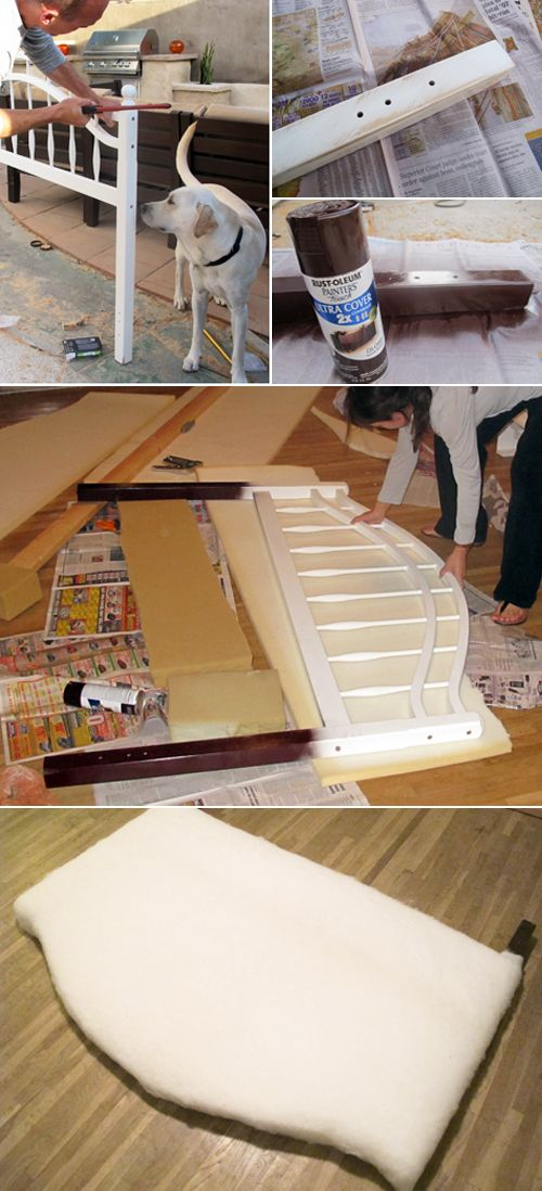 upholster metal frame headboard