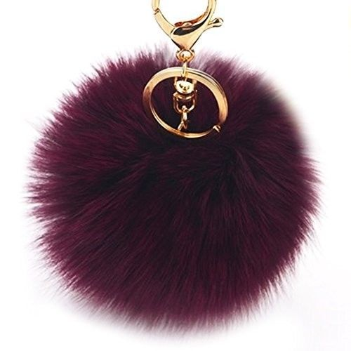 c6f93098311 Dikoaina Faux Fox Fur Pom Pom Keychain Bag Purse Charm Gold Ring Fluffy Fur  Ball  fashion  clothing  shoes  accessories  womensaccessories ...
