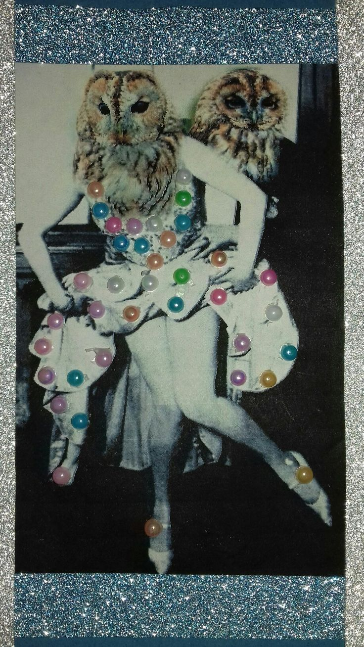 Cha cha tawny owls #randomrequest #chacha #dancingowls #digitalart #digitalcollage #papercollage #pearlstickers #glitter #collageoftheday #collageartistoninstagram #pixlr #mashup #anthropamorphic #vintagephoto #foundphoto