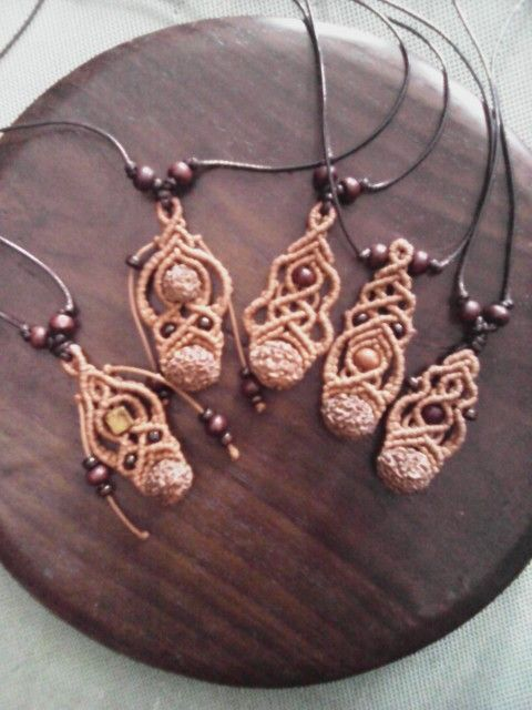 Macrame rudraksha necklace