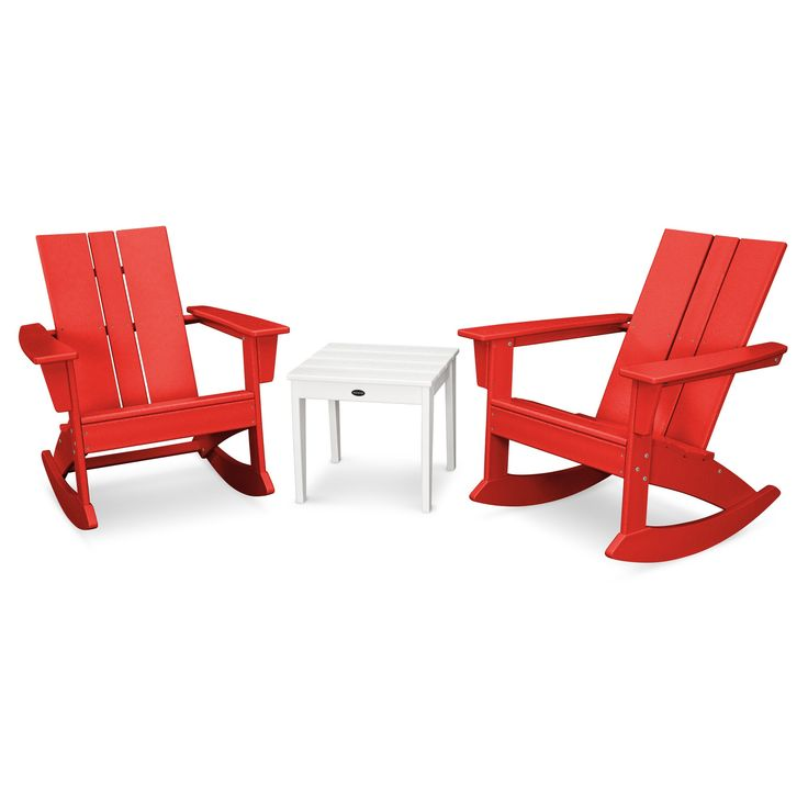 St. Croix 3pc Adirondack Rocking Chair Set - Sunset Red - Polywood, Red/White