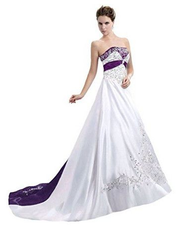 f0428a21eb4 Snowskite Women s Strapless Satin Embroidery Wedding Dress Bridal Gown View  our amazing selection of wedding dresses