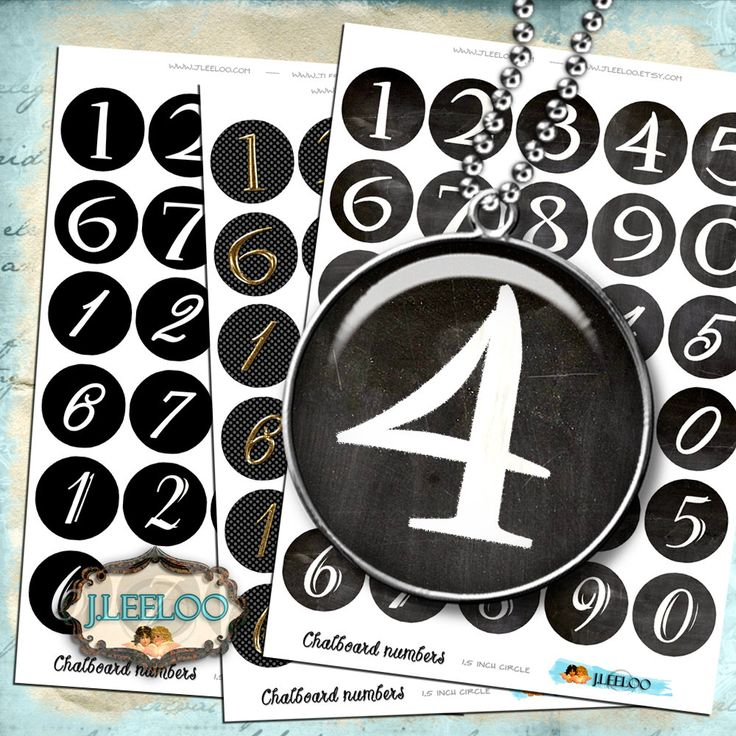 Digital collage sheet CHALKBOARD NUMBERS - 1.5 inch round for pendant magnet craft clipart hang tags - instant download printable - tn435 by byJLeeloo on Etsy