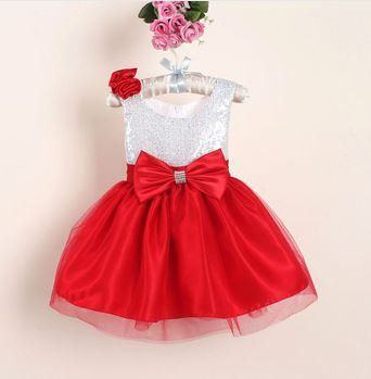 Sequined Silver and Red Infant Dress girls couture by fabposhtots
