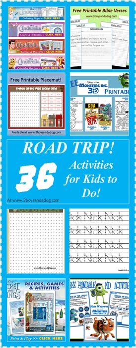 FREE:  Road Trip Printable Activities for Kids
