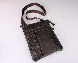 Unisex kožená taška cez rameno POLO v hnedej farbe (5)