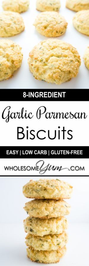 Garlic Parmesan Biscuits (Low Carb, Gluten-free) - These buttery garlic parmesan biscuits are paleo, low carb, and extremely easy to make.