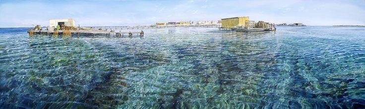Artwork painting shallow waters blue - Larry Mitchell - Basilli Island