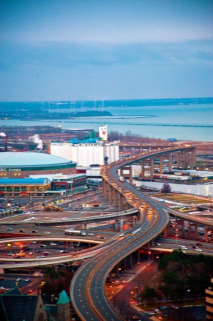 """Buffalo, NY  """"The Skyway"""" NY 5,  Facts: The Skyway is a 110 feet high, 1.4 miles long and, 55mph with no shoulder. This environment leaves stranded motorists in a sticky situation becasue it takes some of the worst of Lake Erie's winter winds people can literally be blown right off of it.  to bad its a bit soft. it also is the only bridge in New York State with a mechanized closing system which lights up and tells commuters in distant suburbs when it is closed."""