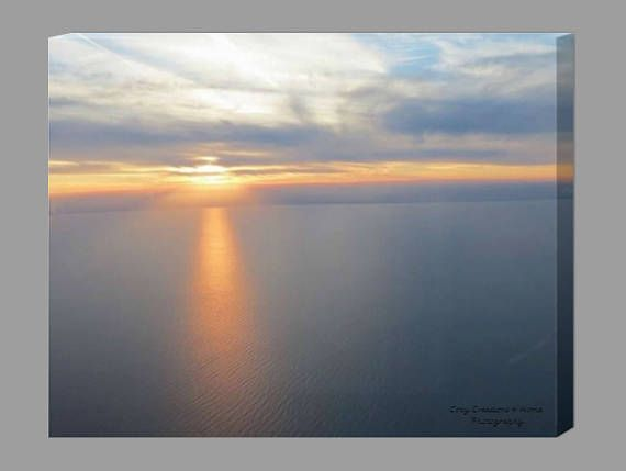 Sunset Canvas / Sunset Photography / Beach House Decor / Lake #lakelife #lakehouse #lakehousedecor #lakemichigan #puremichigan #canvasart #canvaswallart #lakemichigansunset