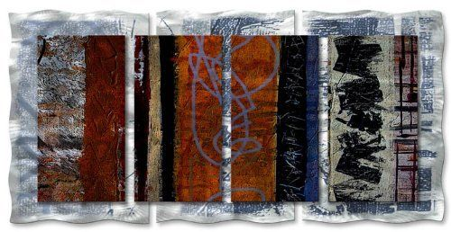 """48x24 Ruth Palmer eclectic modern metal wall art, contemporary metal wall sculpture by ASH CARL DESIGNS. $513.60. Hangs in 15 minutes!. High Quality Welded and Bolted Construction. Size: 23.5"""" T x 48"""" W Inches. Painted Steel. Corrosion Resistant Finish. Bring class and design to a highlight with this """"Eclectic"""" metal wall sculpture by Ruth Palmer. These metal wall hangings consist of torch-cut 18-gauge steel layers, stud construction, and one-of-a-kind hand-sanding, which create..."""