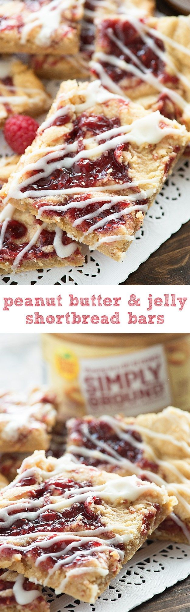 Peanut Butter and Jelly Shortbread Bars! How fun would it be to sneak these in a lunchbox?