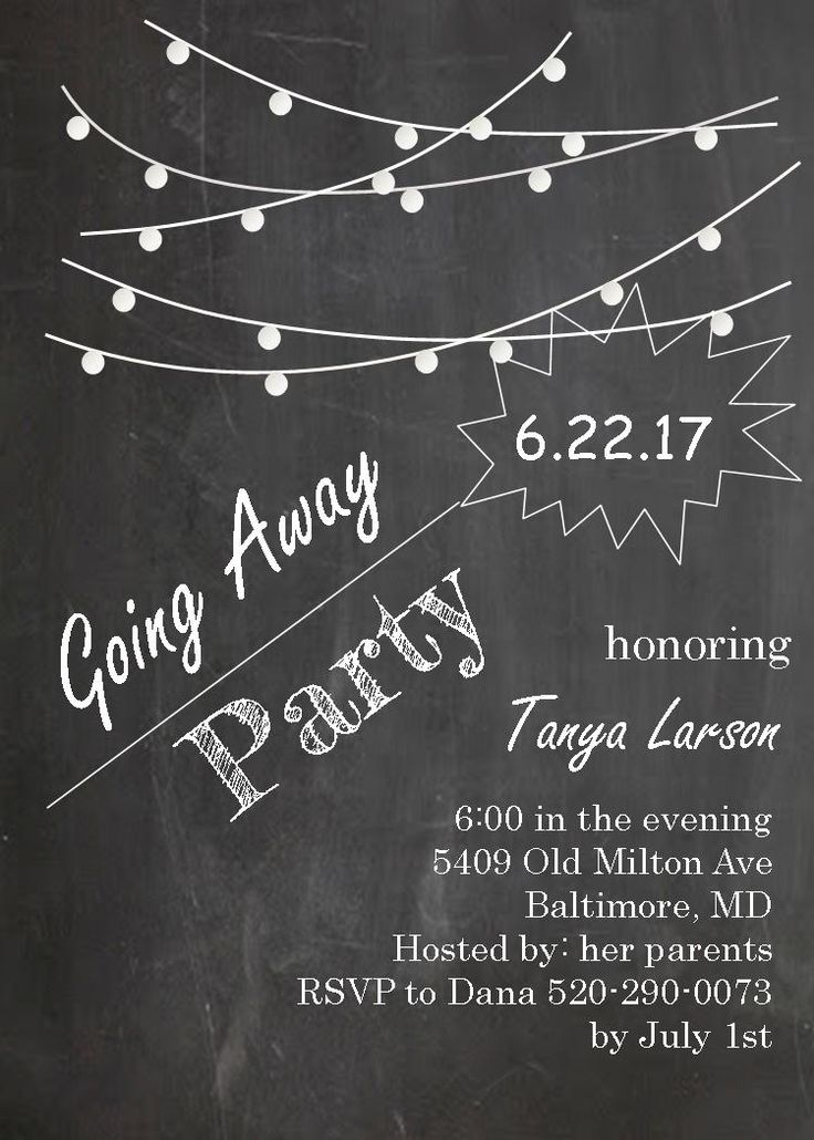 going away party invitations farewell blackboard with string lights - Goodbye Party Invitation