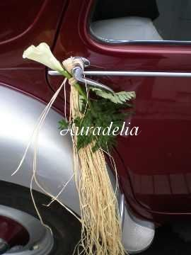 decoration voiture mariage raphia