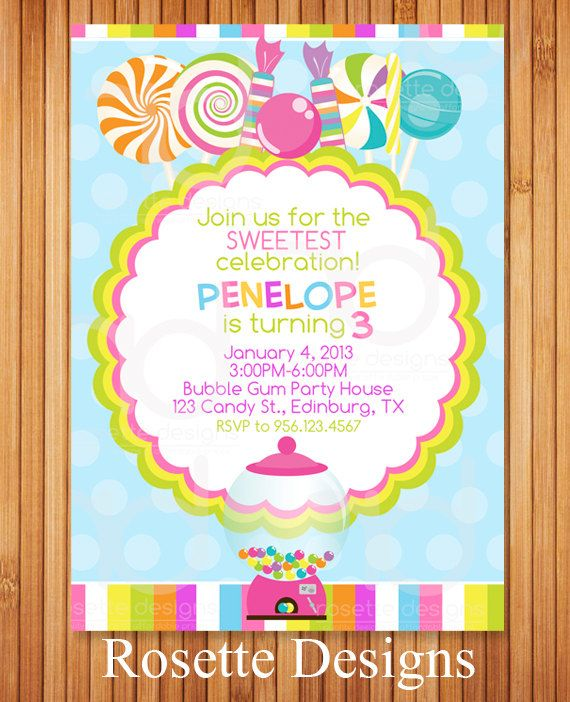 Candyland Invitation  Bubblegum Machine  Candy by RosetteDesigns, $8.25
