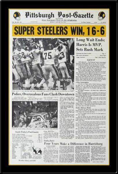 Pittsburgh Steelers Newspaper Print Pittsburgh Post-Gazette Reproduction Super Bowl IX Headline