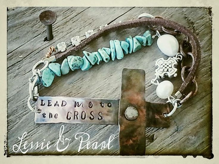 Lead me to the Cross Copper Bracelet on a Lessie  Pearl funky junk chain $35