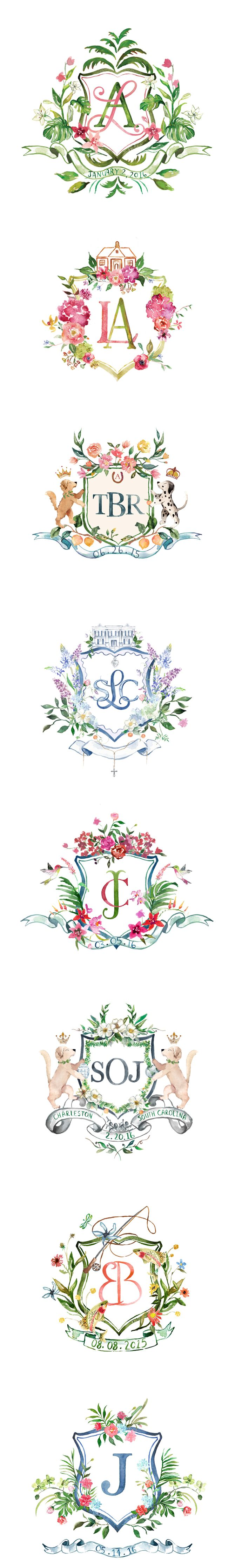 Arabella June: Watercolor Wedding Crests