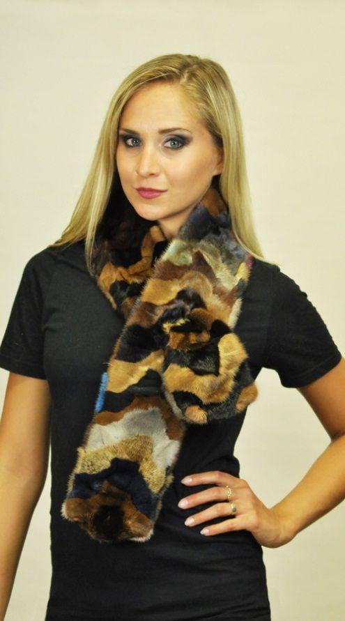 sciarpa in ritagli visone colorata. http://www.amifur.com