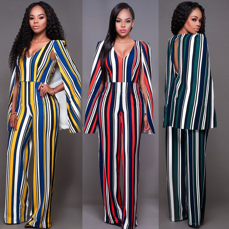 Hot Women Casual Playsuit Party Lady Romper Long Sleeve Striped Jumpsuit L