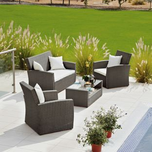 Buy Rattan Effect 4 Seater Patio Set with Cushions   Brown at Argos co. 54 best Patio images on Pinterest
