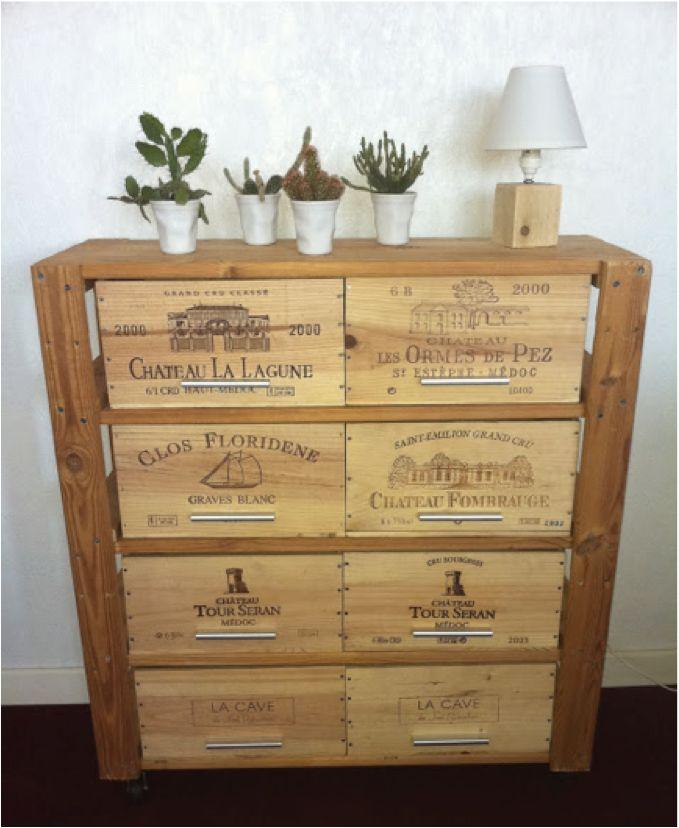 Meuble avec des caisses de vins crédit @ monsieurecup.blogspot.fr