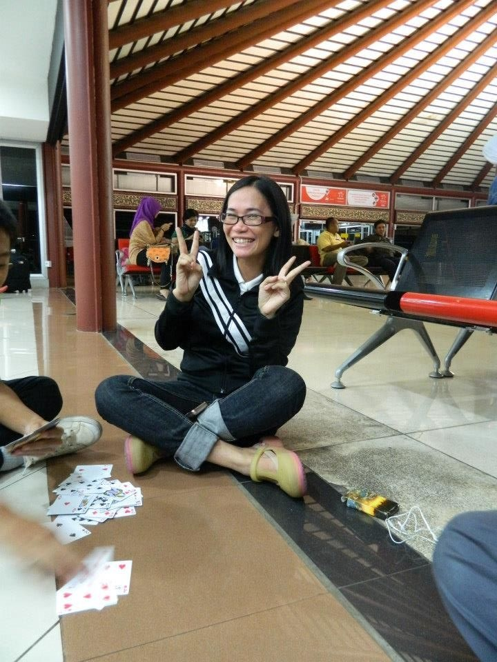 while waiting for the plane at ahmad yani international airport in jakarta, indonesia