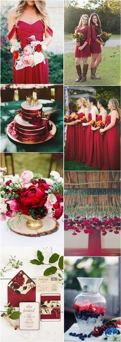 Top left-bridesmaids bouquets- love the colors and types of flowers the shape and structure