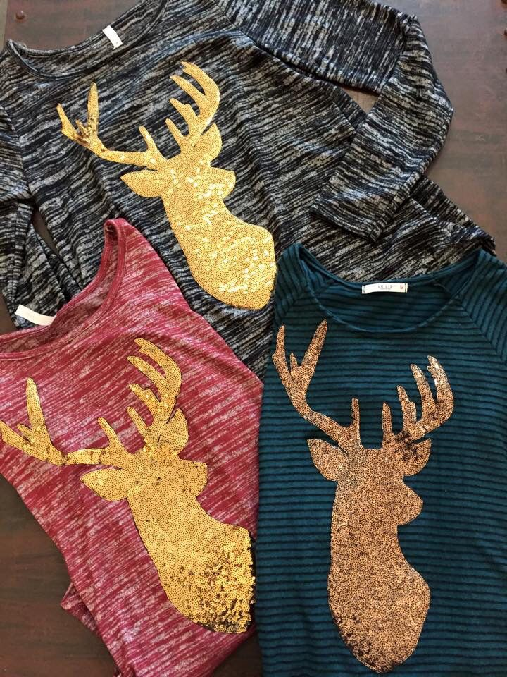 Sequined deer shirts