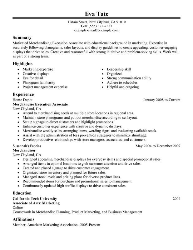 Merchandising Execution Associate Resume Sample Job Resume Samples Resume Examples Resume Objective Sample